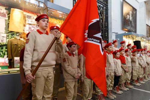 Москва Официальное мероприятие  Дети сотрудников военной контрразведки ФСБ России произнесли клятву юнармейцев в канун столетия органов безопасности России.